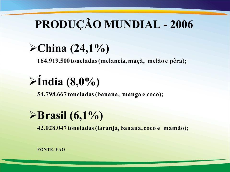 PRODUÇÃO MUNDIAL - 2006 China (24,1%) Índia (8,0%) Brasil (6,1%)