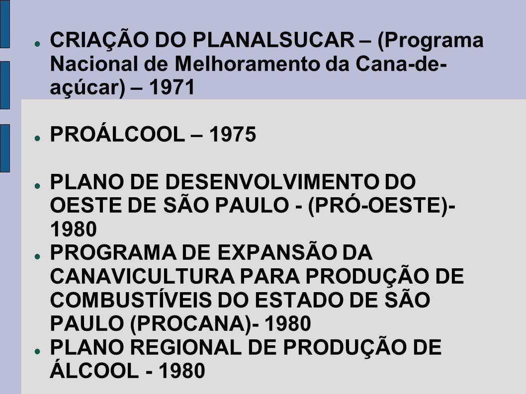 CRIAÇÃO DO PLANALSUCAR – (Programa Nacional de Melhoramento da Cana-de-açúcar) – 1971