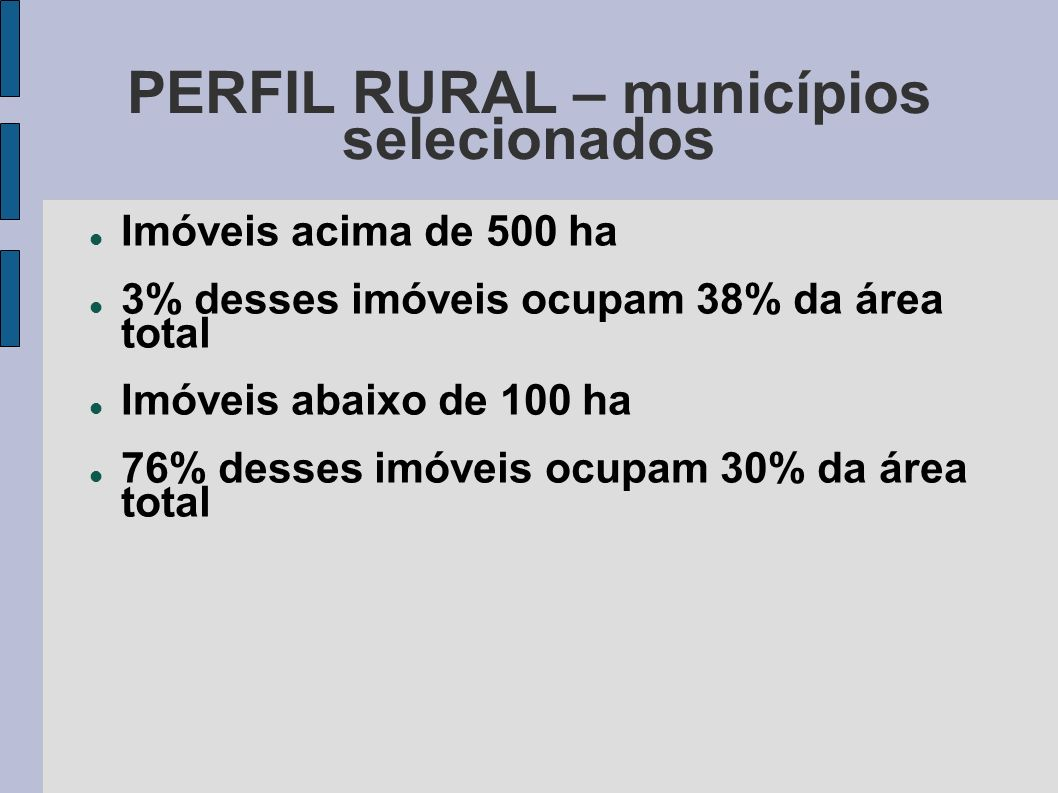 PERFIL RURAL – municípios selecionados