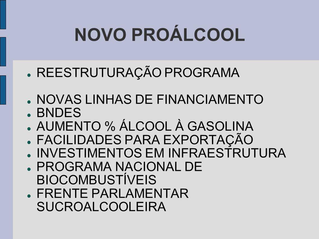 NOVO PROÁLCOOL REESTRUTURAÇÃO PROGRAMA NOVAS LINHAS DE FINANCIAMENTO