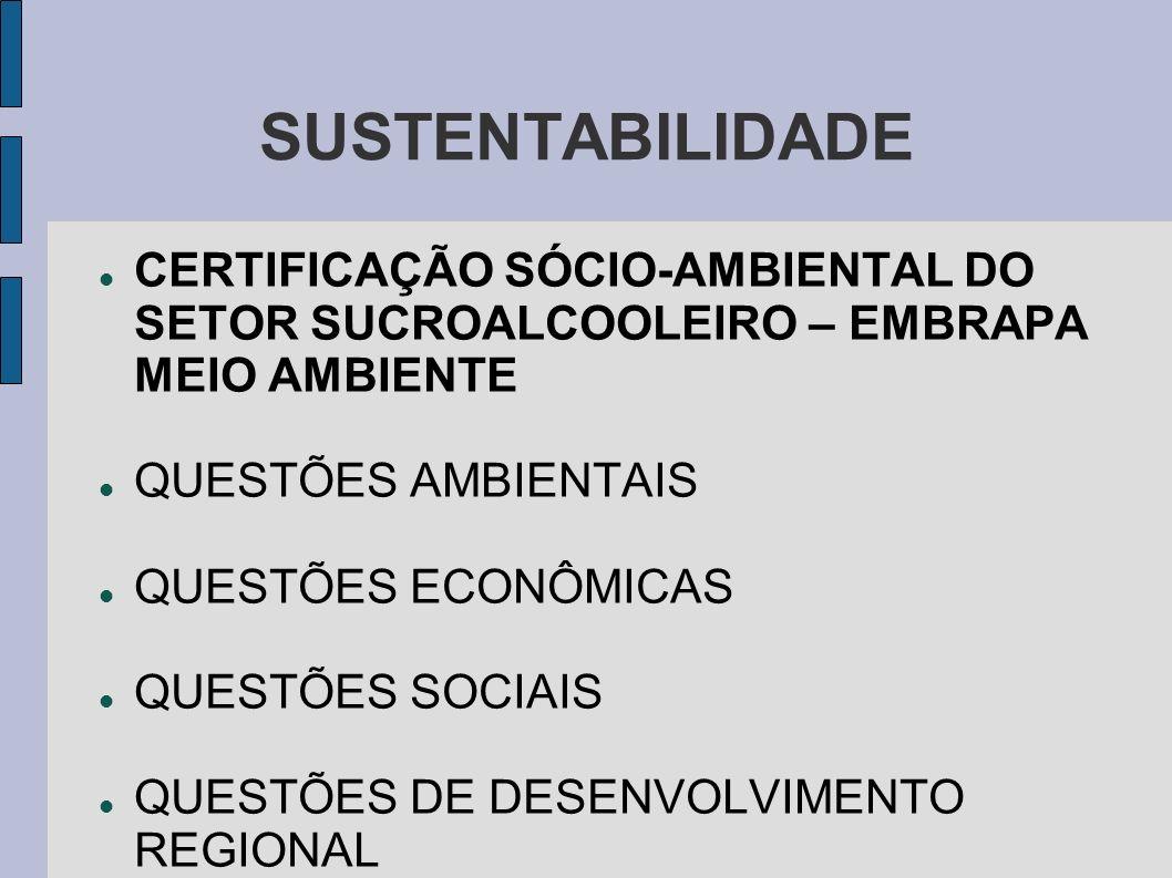 SUSTENTABILIDADE CERTIFICAÇÃO SÓCIO-AMBIENTAL DO SETOR SUCROALCOOLEIRO – EMBRAPA MEIO AMBIENTE. QUESTÕES AMBIENTAIS.