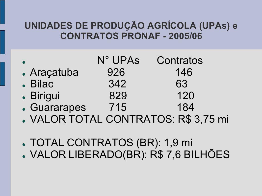 UNIDADES DE PRODUÇÃO AGRÍCOLA (UPAs) e CONTRATOS PRONAF - 2005/06