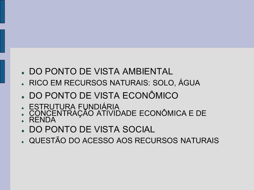 DO PONTO DE VISTA AMBIENTAL DO PONTO DE VISTA ECONÔMICO