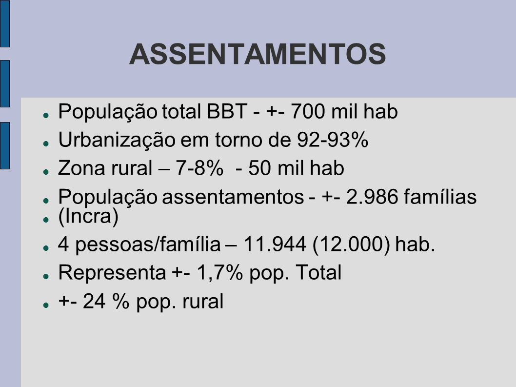 ASSENTAMENTOS População total BBT - +- 700 mil hab