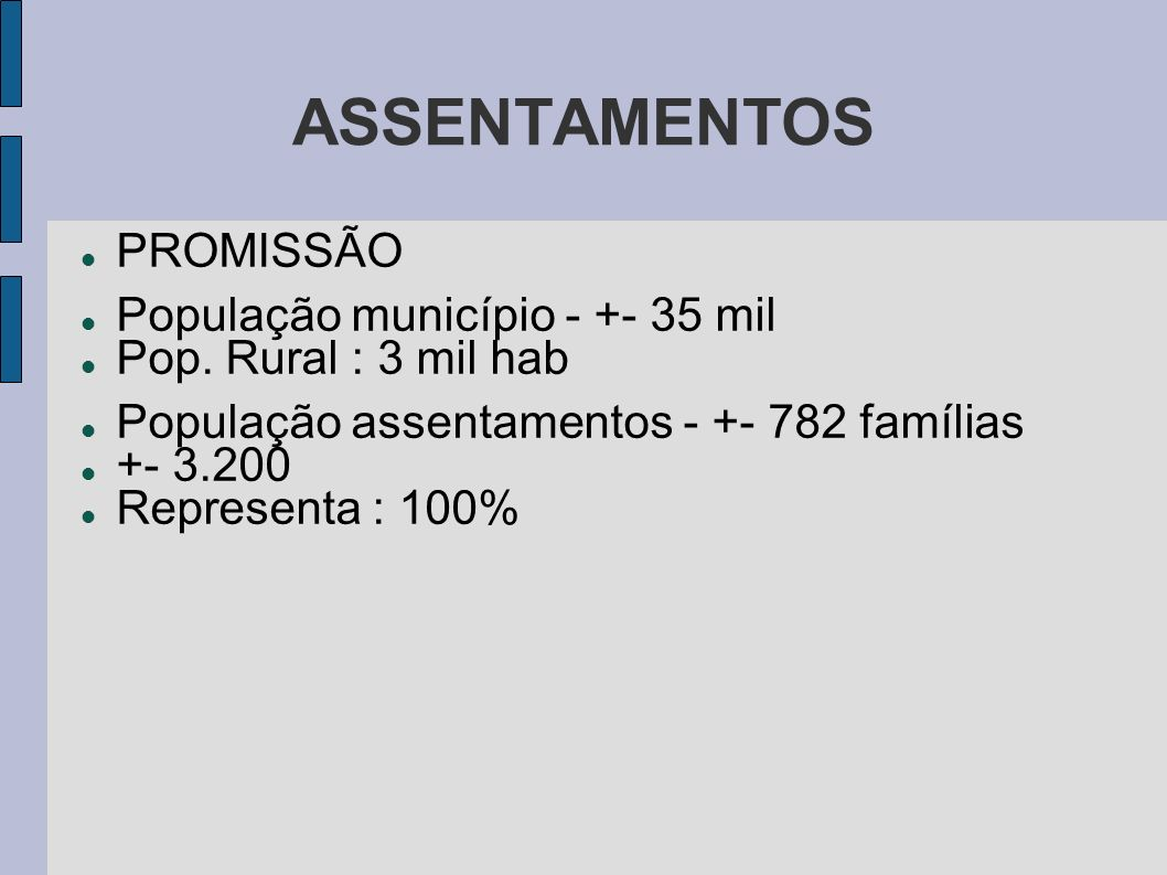 ASSENTAMENTOS PROMISSÃO População município - +- 35 mil
