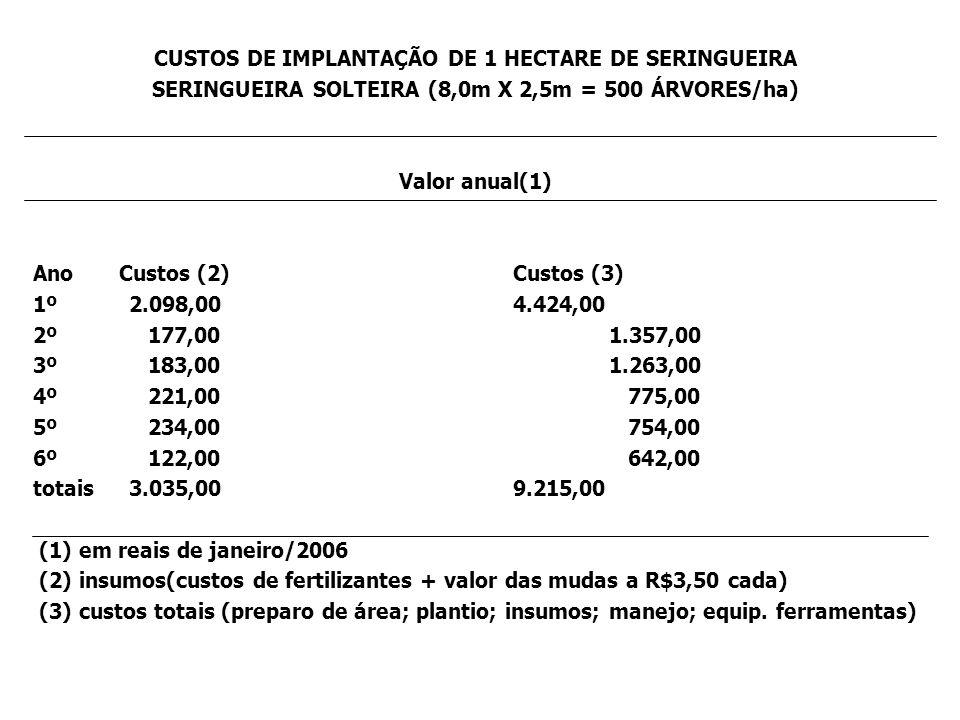 CUSTOS DE IMPLANTAÇÃO DE 1 HECTARE DE SERINGUEIRA