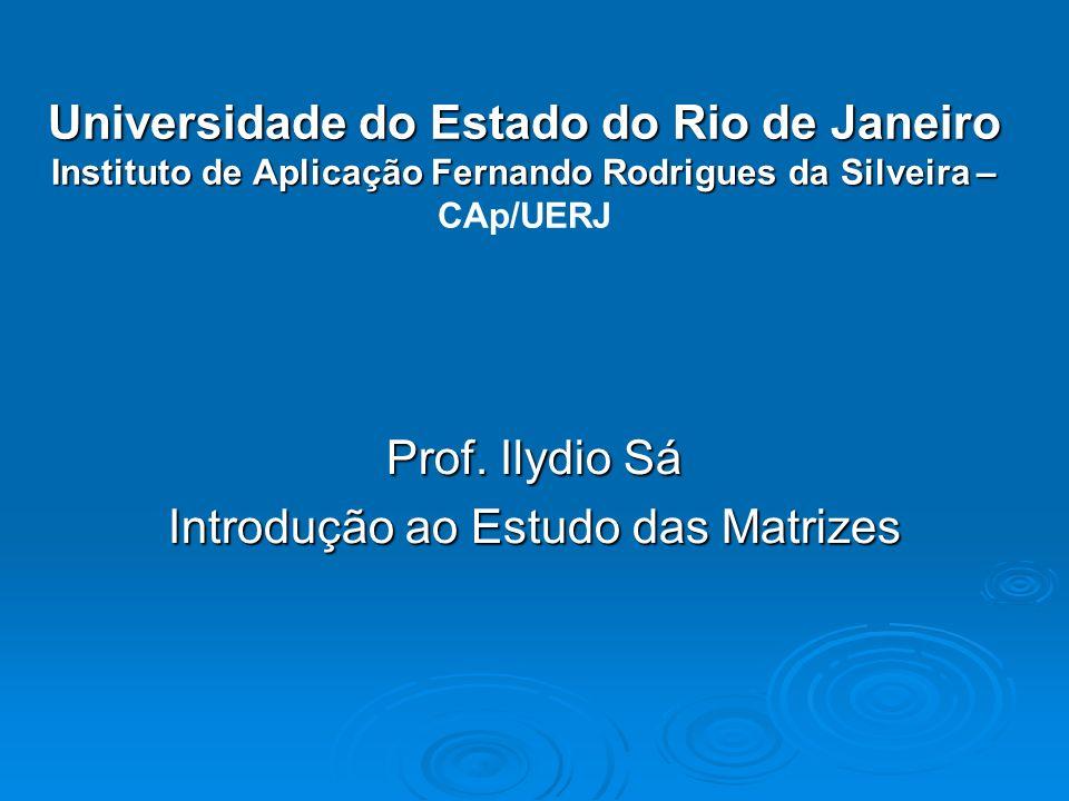 Prof. Ilydio Sá Introdução ao Estudo das Matrizes