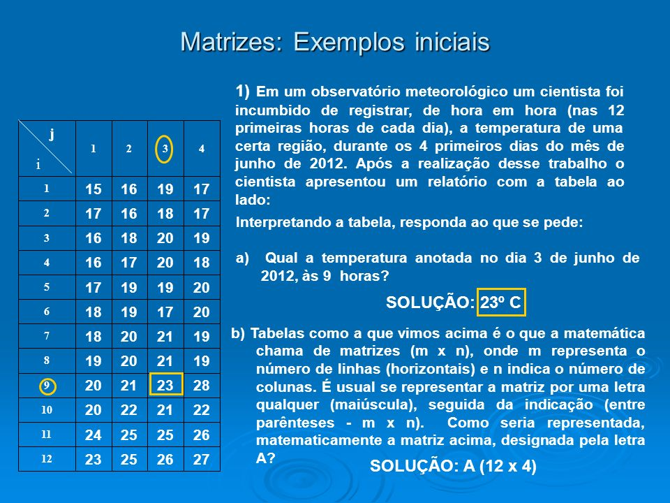 Matrizes: Exemplos iniciais