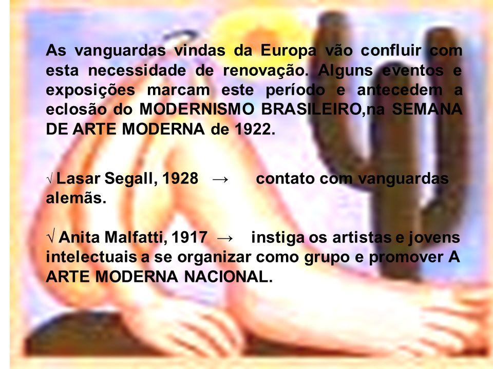 As vanguardas vindas da Europa vão confluir com esta necessidade de renovação. Alguns eventos e exposições marcam este período e antecedem a eclosão do MODERNISMO BRASILEIRO,na SEMANA DE ARTE MODERNA de 1922.