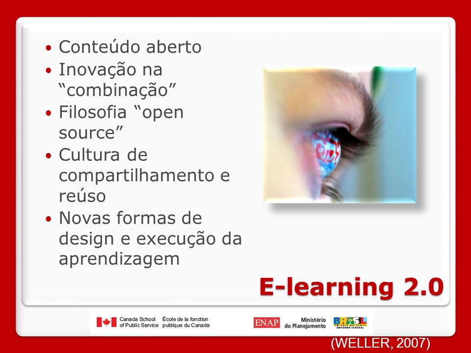 E-learning 2.0 Conteúdo aberto Inovação na combinação