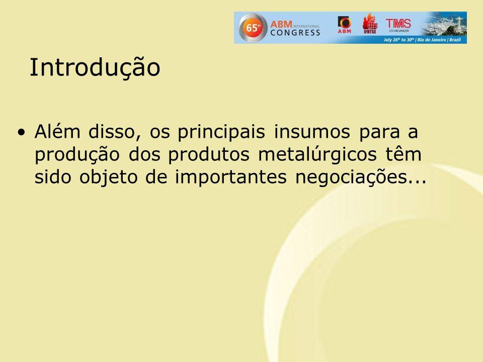 Introdução Além disso, os principais insumos para a produção dos produtos metalúrgicos têm sido objeto de importantes negociações...