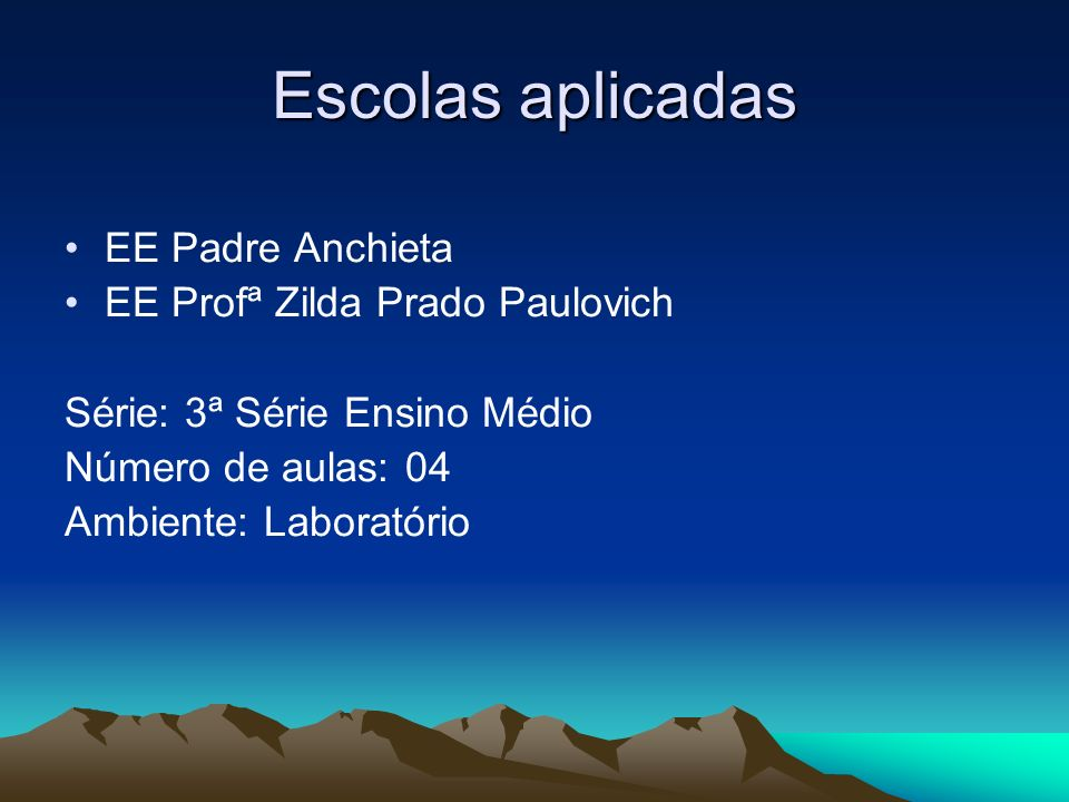 Escolas aplicadas EE Padre Anchieta EE Profª Zilda Prado Paulovich