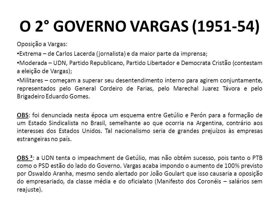O 2° GOVERNO VARGAS (1951-54) Oposição a Vargas: