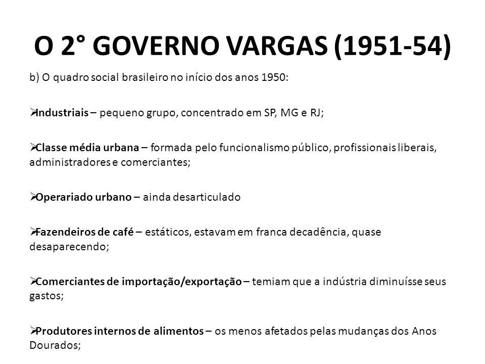 O 2° GOVERNO VARGAS (1951-54) b) O quadro social brasileiro no início dos anos 1950: Industriais – pequeno grupo, concentrado em SP, MG e RJ;