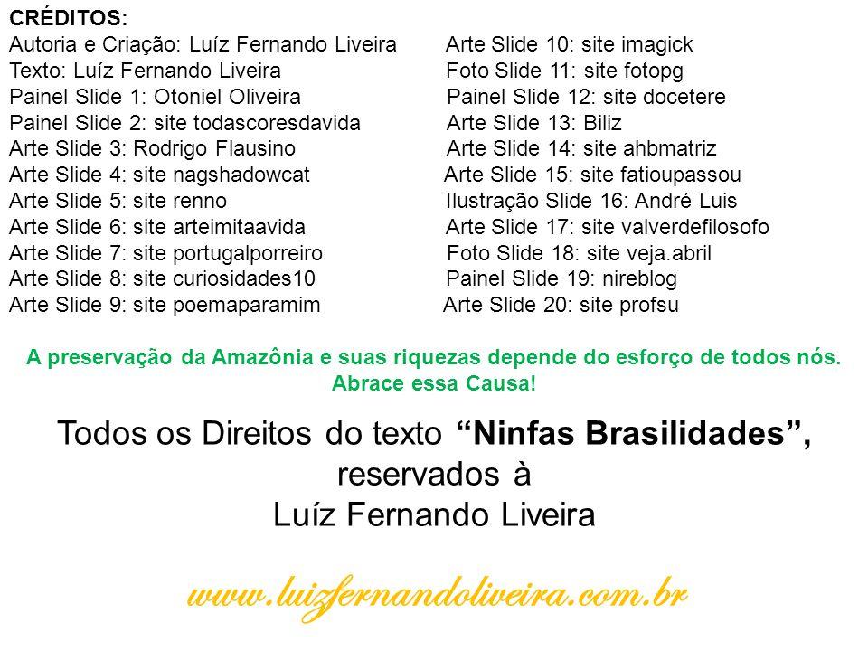 Todos os Direitos do texto Ninfas Brasilidades , reservados à