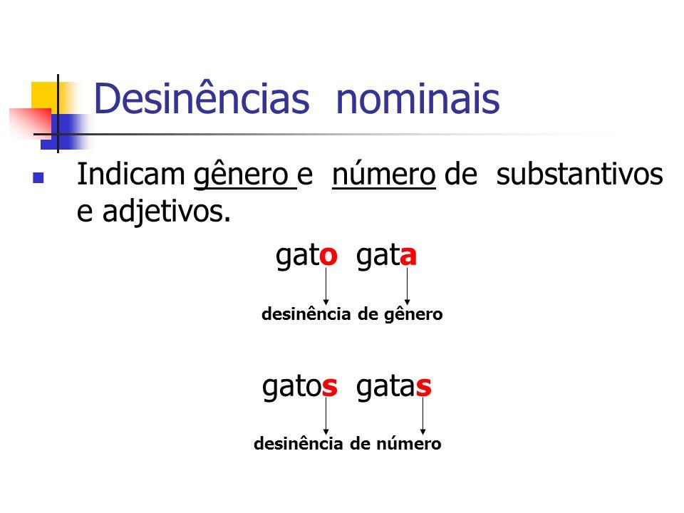 Desinências nominais Indicam gênero e número de substantivos e adjetivos. gato gata. gatos gatas.