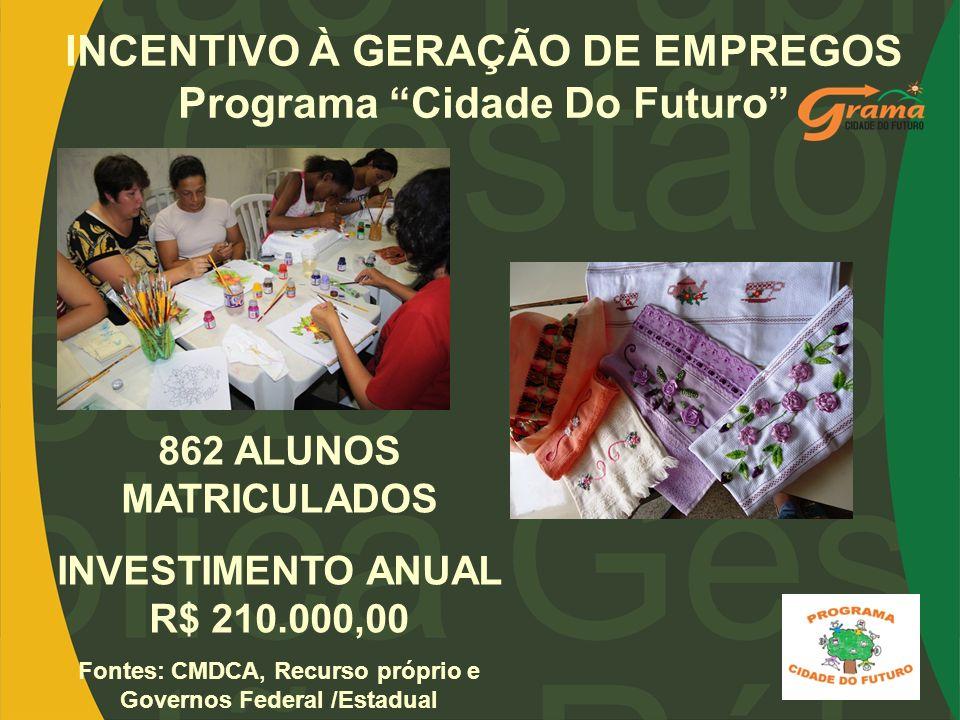 INCENTIVO À GERAÇÃO DE EMPREGOS Programa Cidade Do Futuro