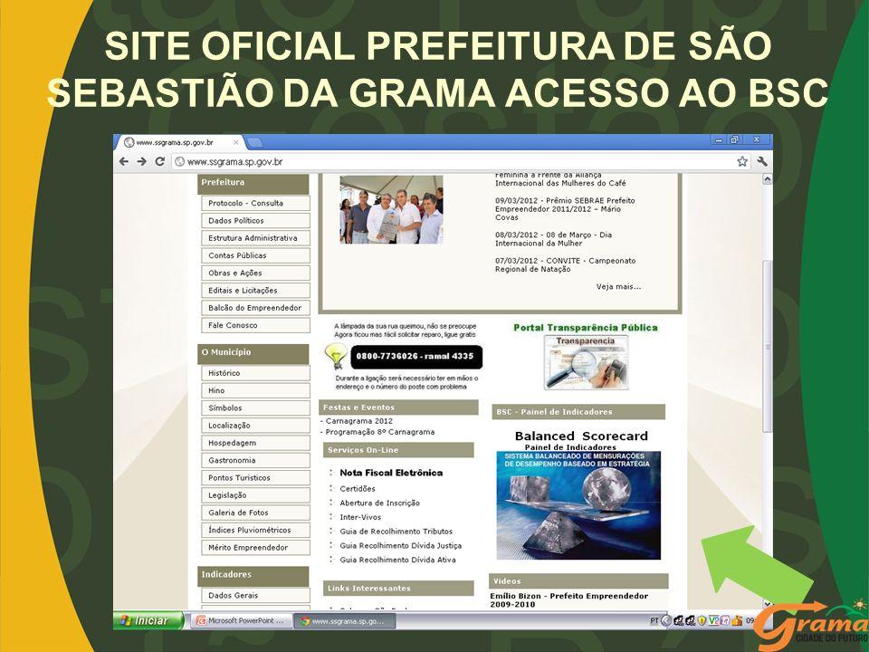 SITE OFICIAL PREFEITURA DE SÃO SEBASTIÃO DA GRAMA ACESSO AO BSC