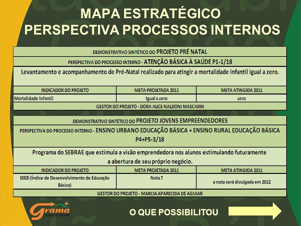 MAPA ESTRATÉGICO PERSPECTIVA PROCESSOS INTERNOS