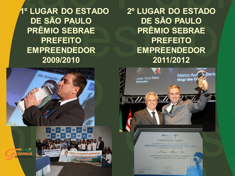 1º LUGAR DO ESTADO DE SÃO PAULO PRÊMIO SEBRAE PREFEITO EMPREENDEDOR 2009/2010
