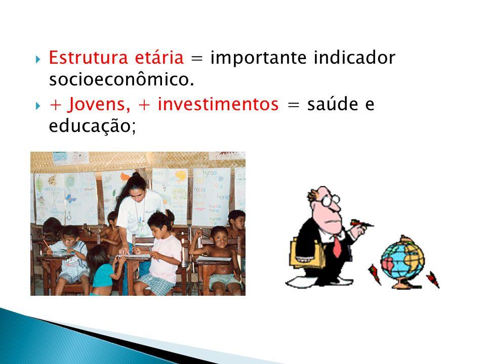 Estrutura etária = importante indicador socioeconômico.