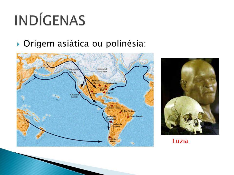 INDÍGENAS Origem asiática ou polinésia: Luzia