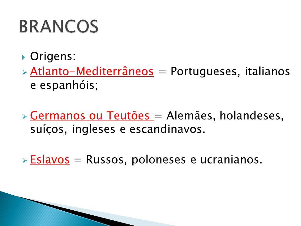 BRANCOS Origens: Atlanto-Mediterrâneos = Portugueses, italianos e espanhóis;