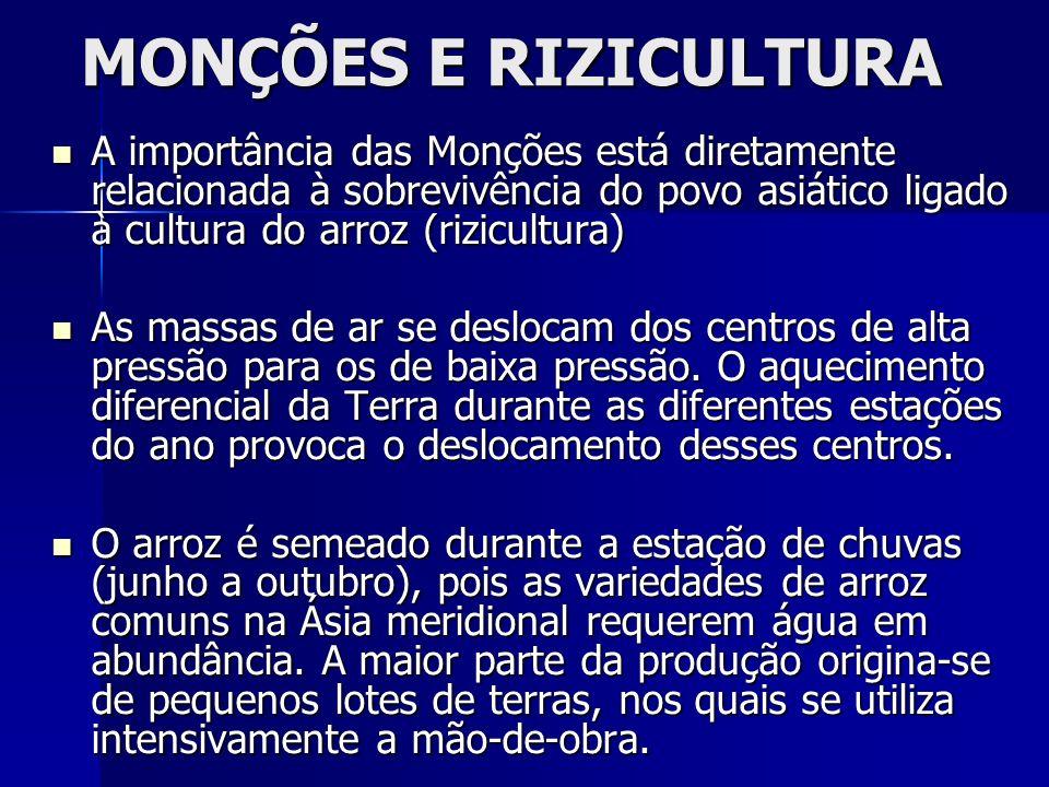 MONÇÕES E RIZICULTURA A importância das Monções está diretamente relacionada à sobrevivência do povo asiático ligado à cultura do arroz (rizicultura)