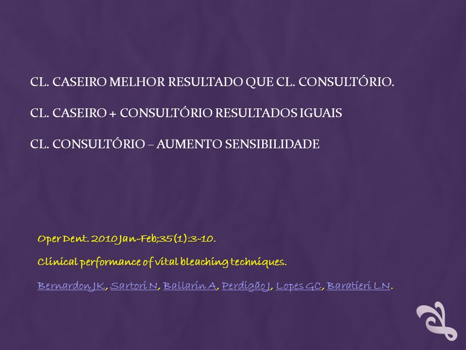 CL. Caseiro melhor resultado que CL. consultório. Cl
