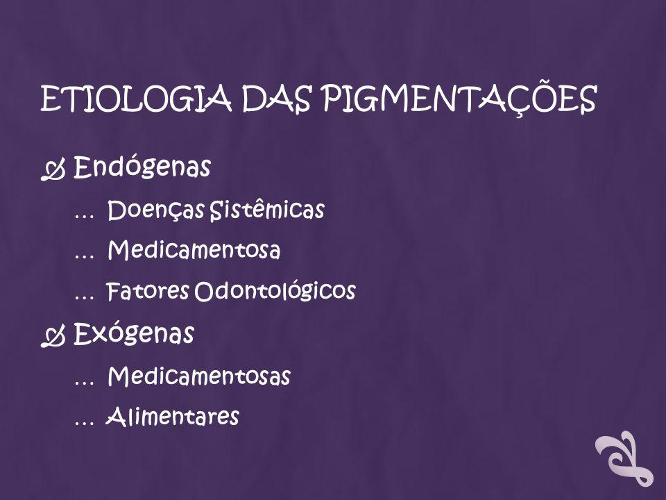 ETIOLOGIA DAS PIGMENTAÇÕES