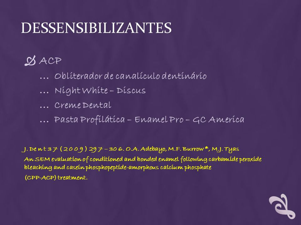 Dessensibilizantes ACP Obliterador de canalículo dentinário