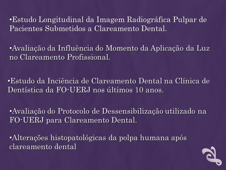 Estudo Longitudinal da Imagem Radiográfica Pulpar de Pacientes Submetidos a Clareamento Dental.
