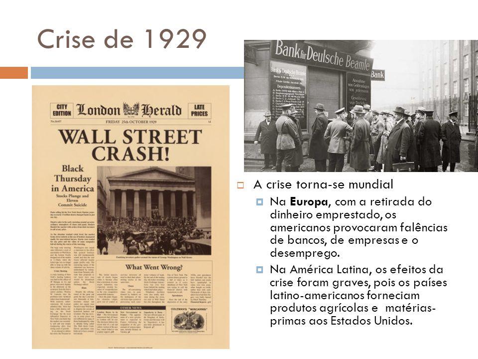 Crise de 1929 A crise torna-se mundial