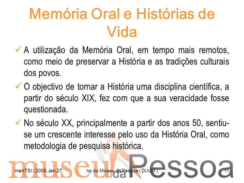 Memória Oral e Histórias de Vida