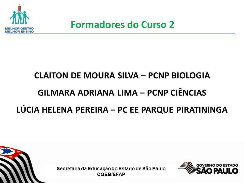 Formadores do Curso 2 CLAITON DE MOURA SILVA – PCNP BIOLOGIA