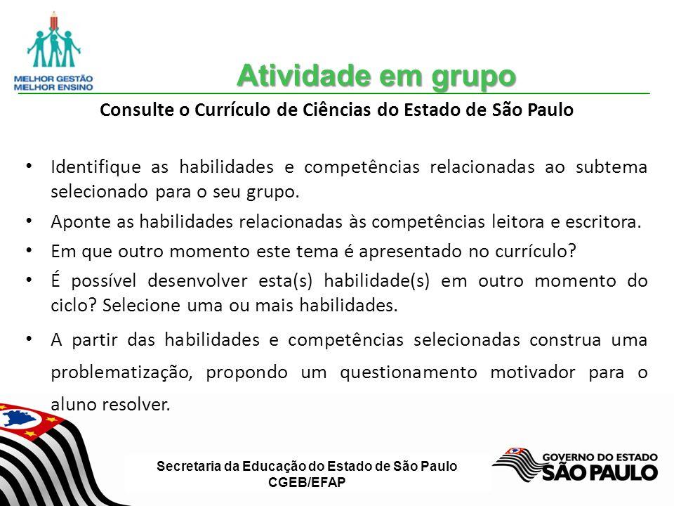 Consulte o Currículo de Ciências do Estado de São Paulo