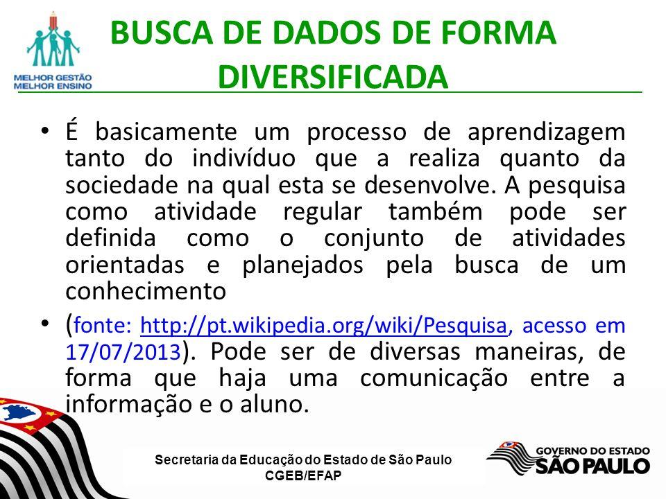 BUSCA DE DADOS DE FORMA DIVERSIFICADA