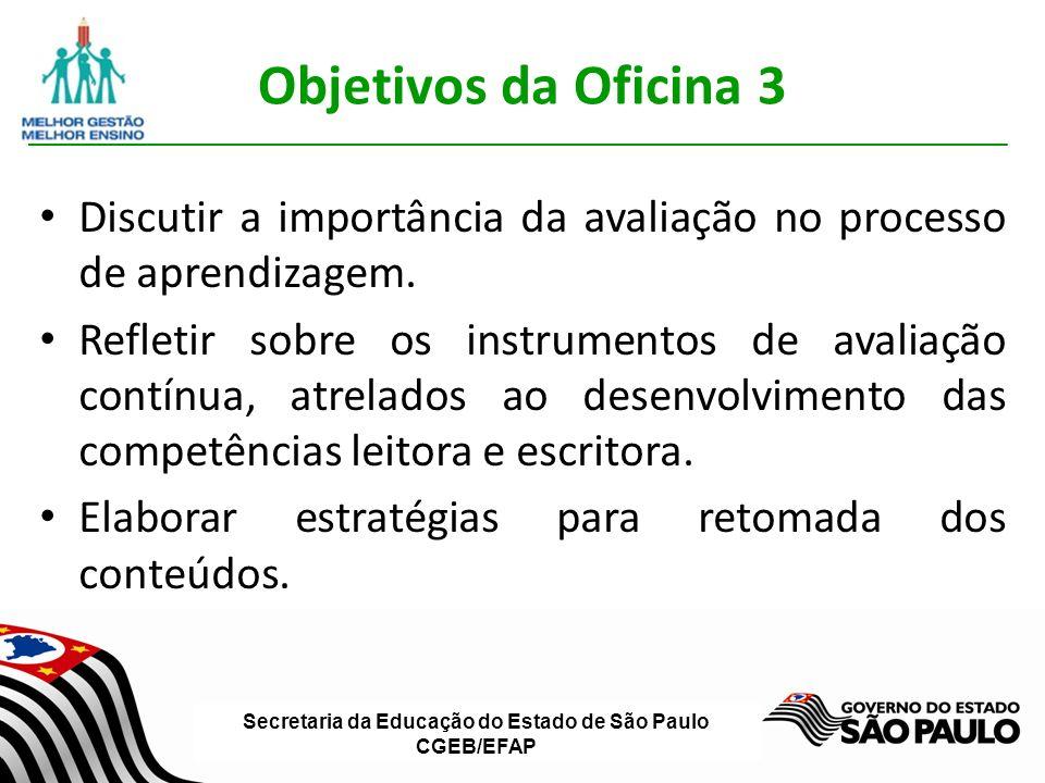 Objetivos da Oficina 3 Discutir a importância da avaliação no processo de aprendizagem.