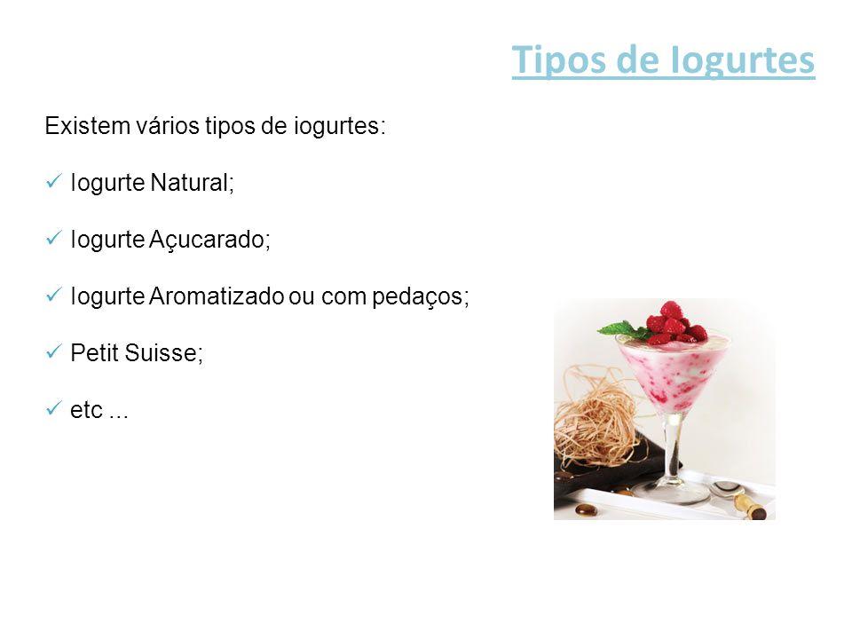Tipos de Iogurtes Existem vários tipos de iogurtes: Iogurte Natural;