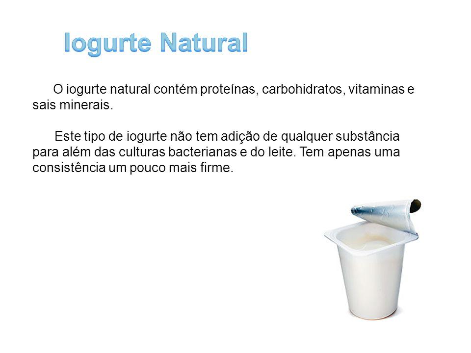 Iogurte Natural O iogurte natural contém proteínas, carbohidratos, vitaminas e sais minerais.