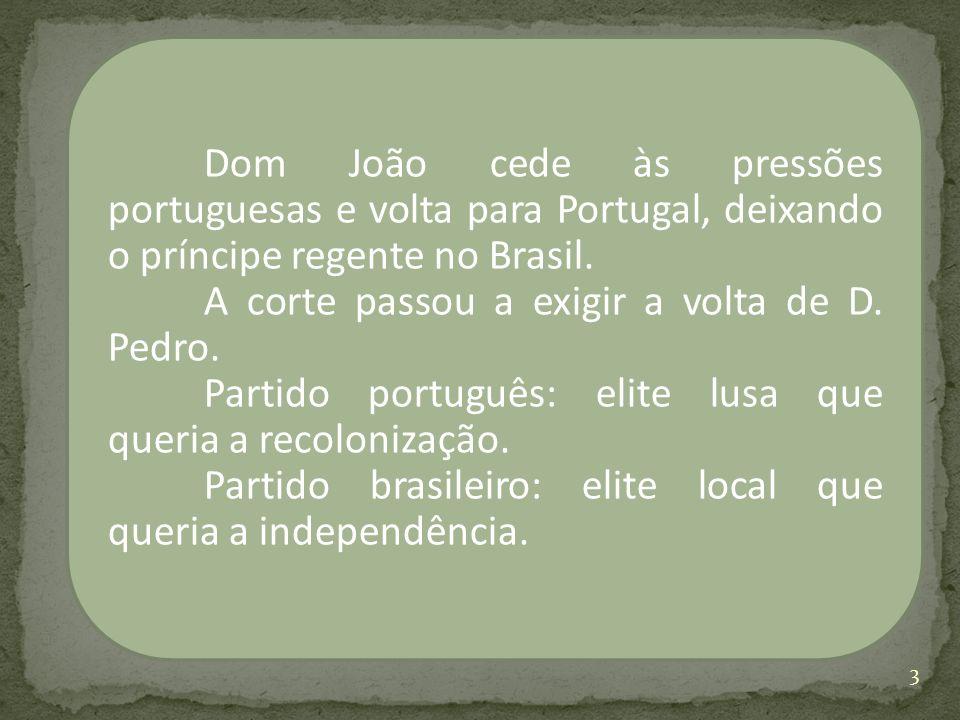 Dom João cede às pressões portuguesas e volta para Portugal, deixando o príncipe regente no Brasil.
