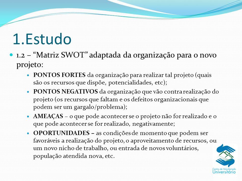 1.Estudo 1.2 – Matriz SWOT adaptada da organização para o novo projeto: