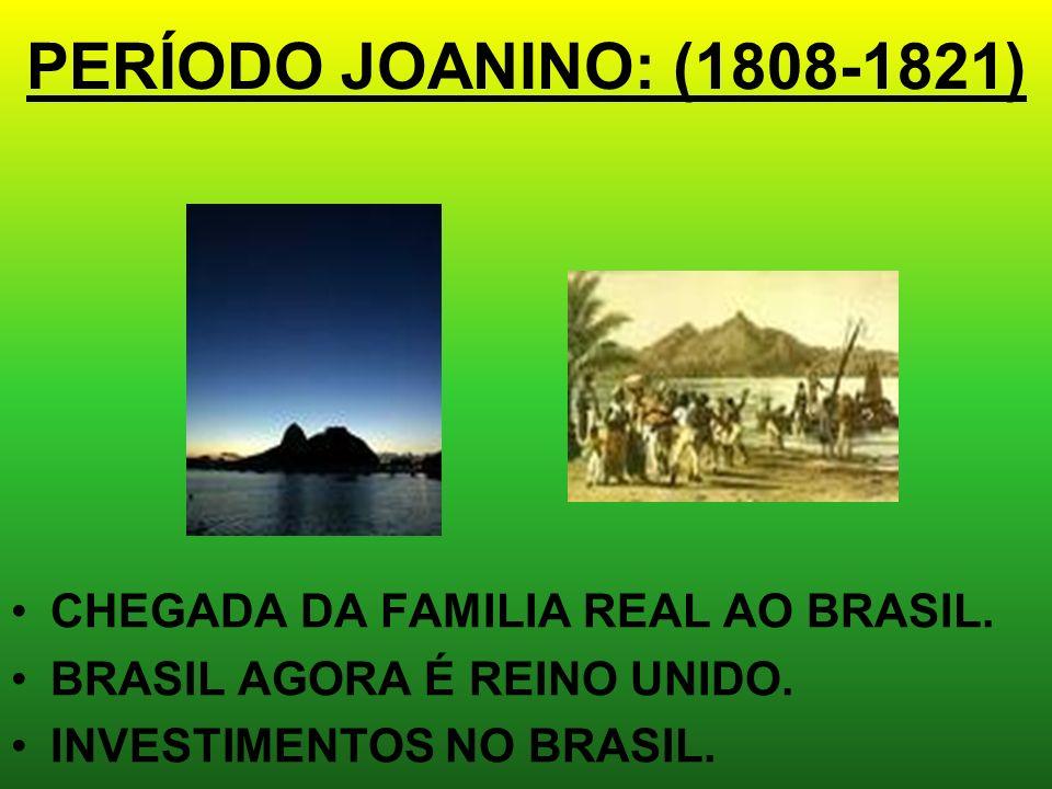 PERÍODO JOANINO: (1808-1821) CHEGADA DA FAMILIA REAL AO BRASIL.