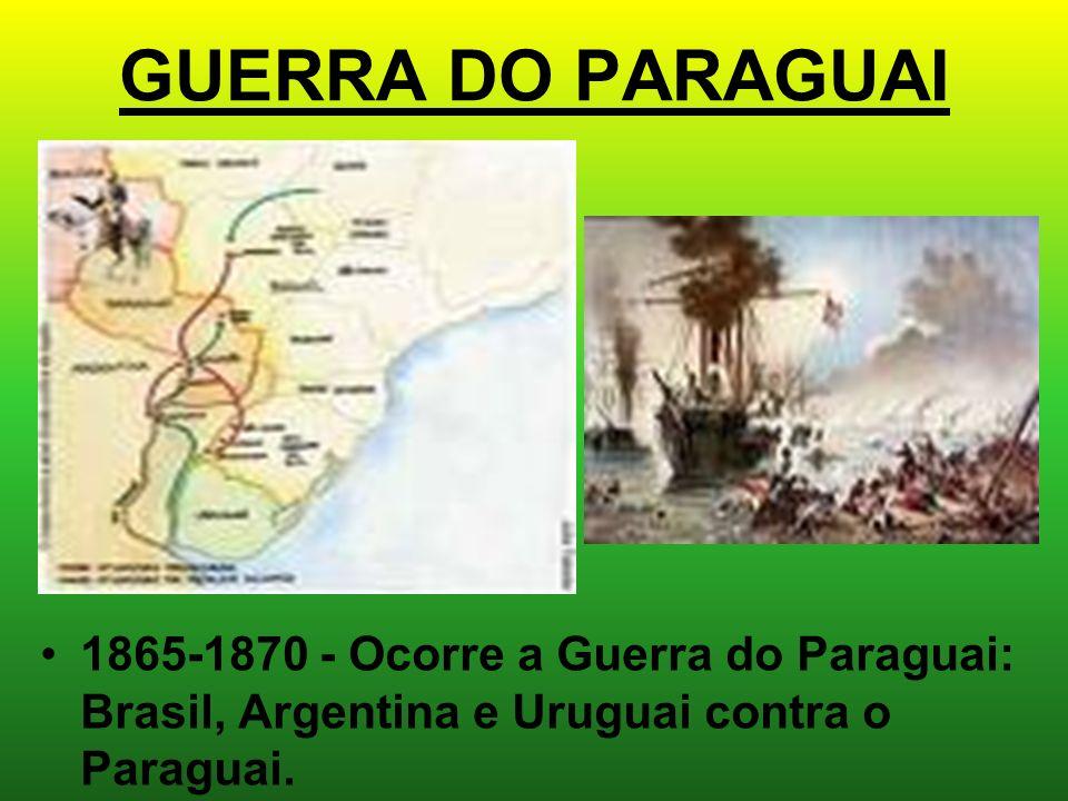 GUERRA DO PARAGUAI 1865-1870 - Ocorre a Guerra do Paraguai: Brasil, Argentina e Uruguai contra o Paraguai.