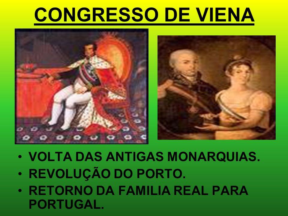 CONGRESSO DE VIENA VOLTA DAS ANTIGAS MONARQUIAS. REVOLUÇÃO DO PORTO.
