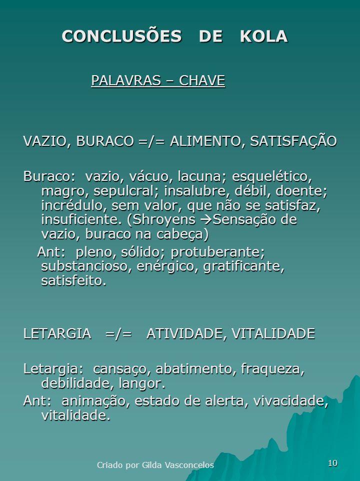 CONCLUSÕES DE KOLA PALAVRAS – CHAVE
