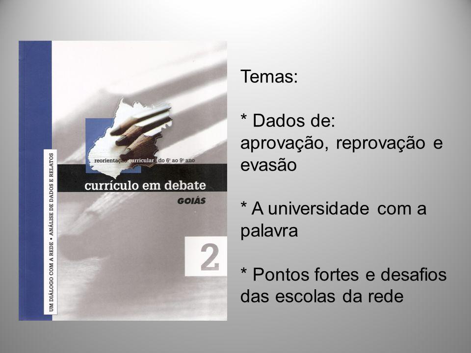 Temas:. Dados de: aprovação, reprovação e evasão