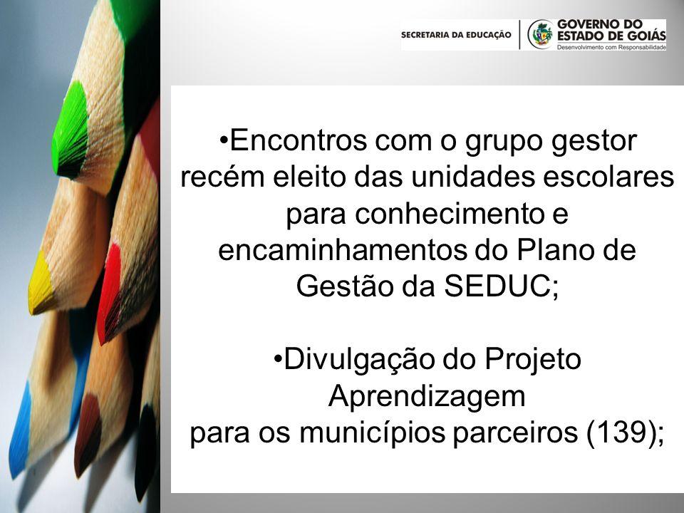 Divulgação do Projeto Aprendizagem para os municípios parceiros (139);
