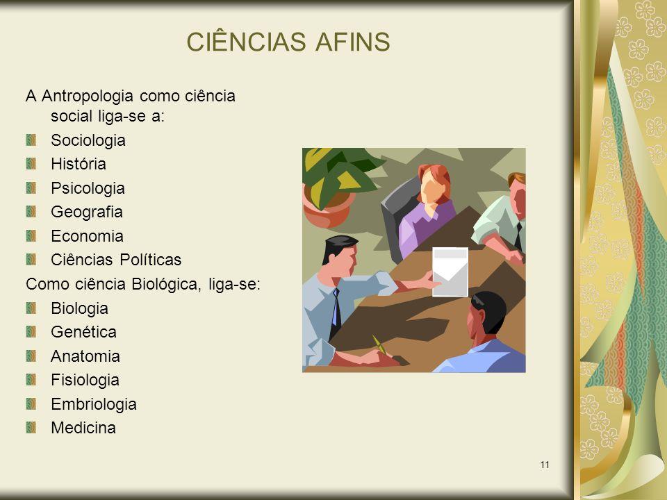 CIÊNCIAS AFINS A Antropologia como ciência social liga-se a: