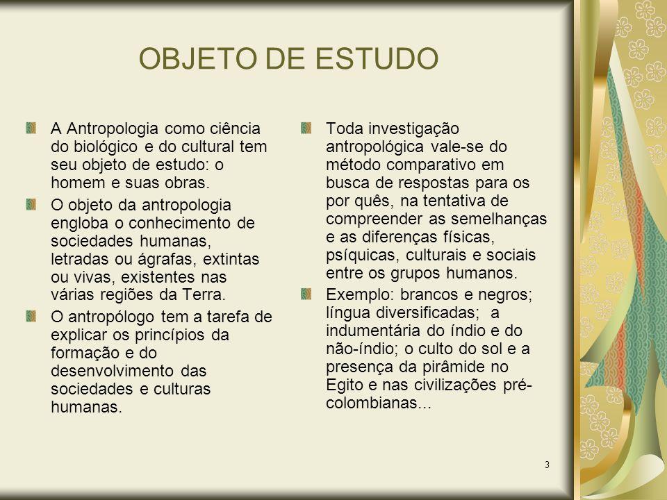 OBJETO DE ESTUDO A Antropologia como ciência do biológico e do cultural tem seu objeto de estudo: o homem e suas obras.